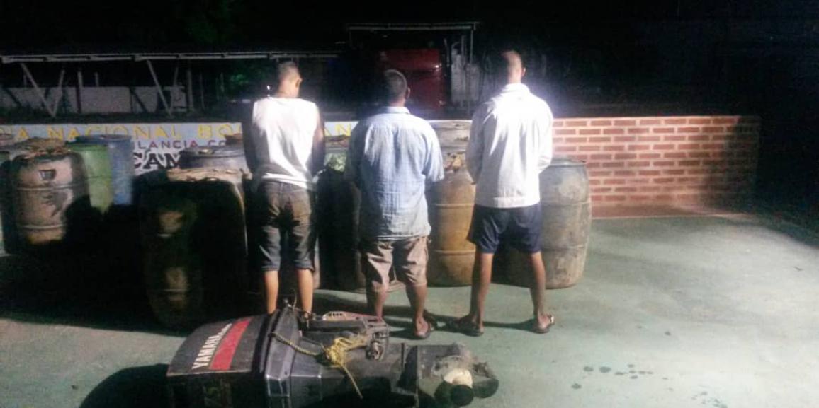 Comando de vigilancia costera desmantela banda de contrabandistas de combustible en el municipio Caroní del estado Bolívar
