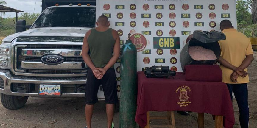 GNB capturó a dos ciudadanos con material explosivo en el estado Bolívar