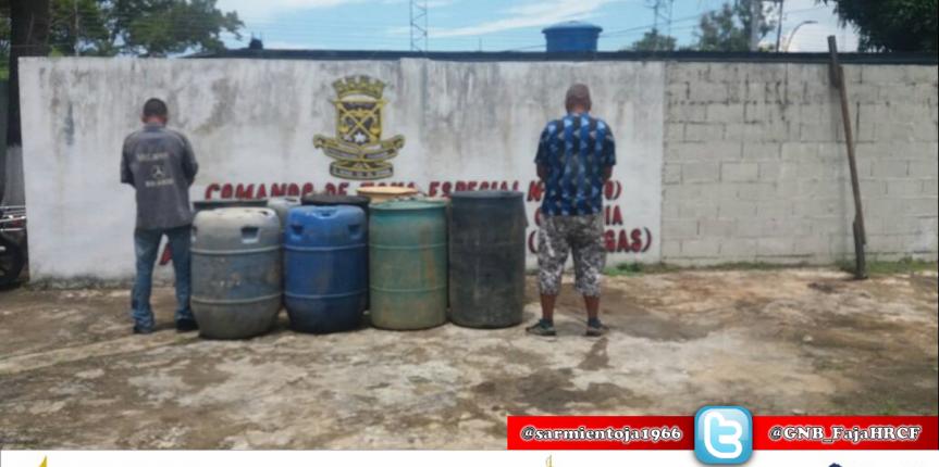 Dos ciudadanos detenidos en incautación de 4 mil 980 litros tipo Gasoil en Monagas