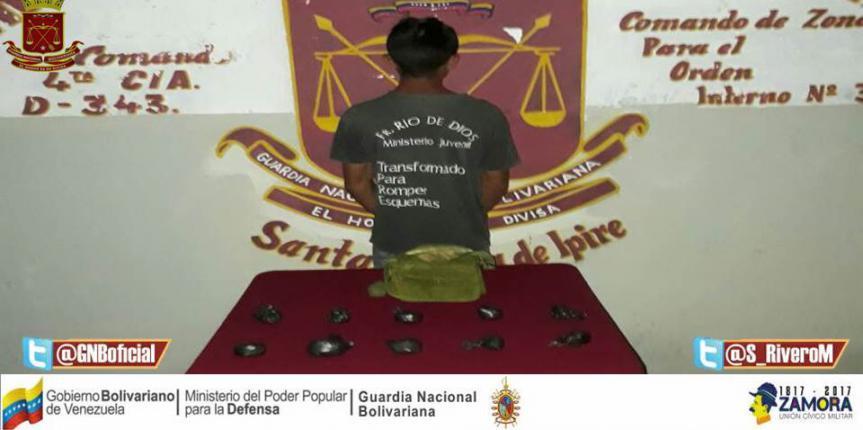 GNB detuvo a ciudadano con 10 envoltorios de marihuana