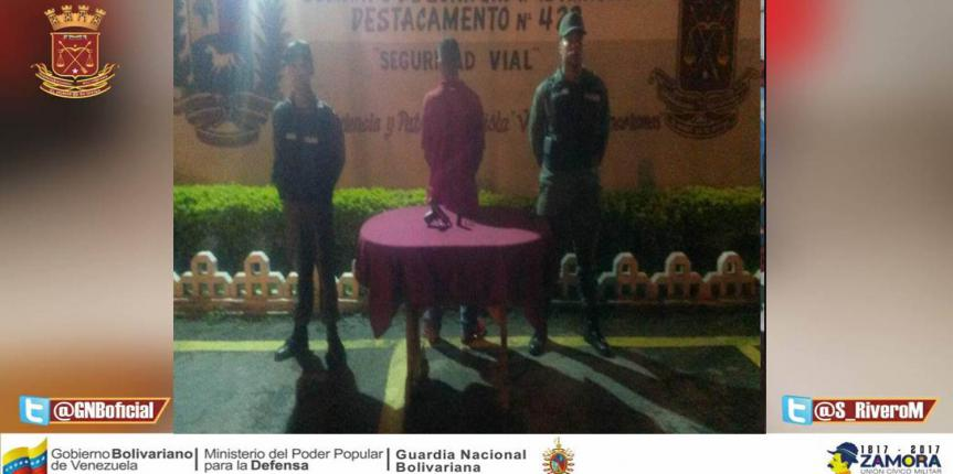 GNB Aragua detuvo a ciudadano e incautó un arma de fuego