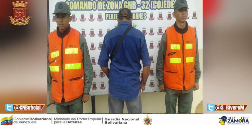 GNB Cojedes capturó a ciudadano solicitado por la justicia