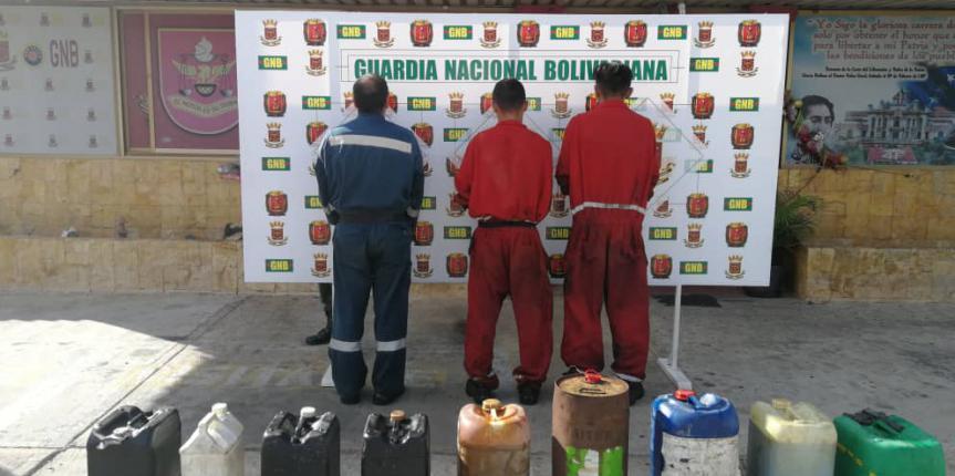 """GNB Falcón desmantela banda """"Los Aceiteros"""" por hurtar 70 litros de lubricante"""