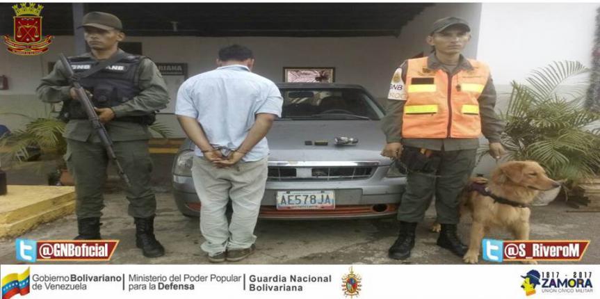 GNB Guárico  lo capturó con cocaína y municiones de guerra