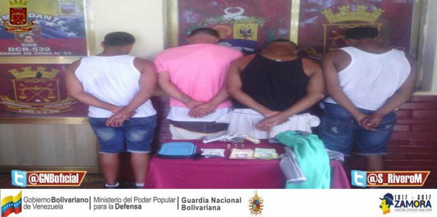 GNB Sucre  efectuó la detención de cinco ciudadanos en distintos procedimientos