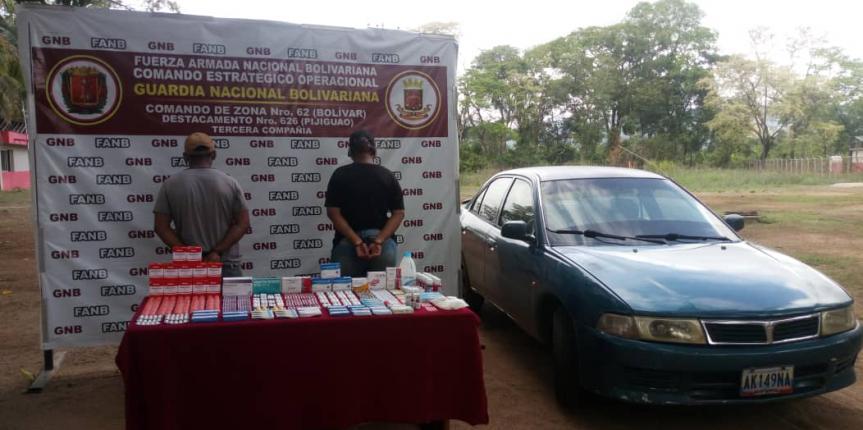 GNB retuvo 297 unidades de medicamentos colombianos en el estado Bolívar
