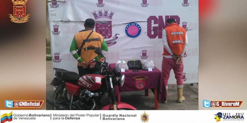 GNB incautó más de un kilo de droga a un par de motorizados en el Zulia