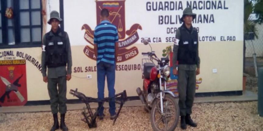 Comandos Rurales de la GNB recuperaron moto hurtada