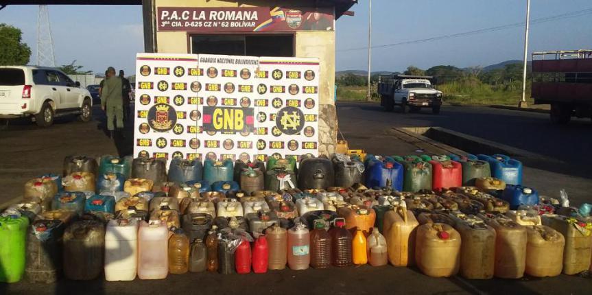 GNB retuvo más de 7 mil litros de combustible ilegal en el estado Bolívar
