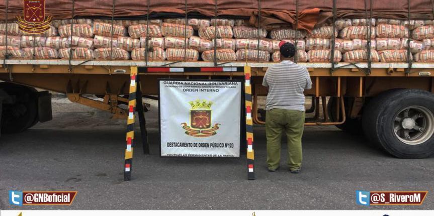 GNB Lara efectuaron retención de 30 TON. de Arroz