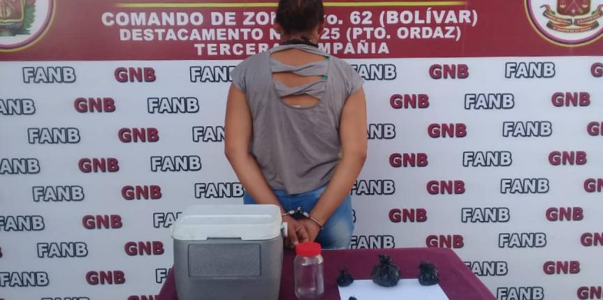 GNB capturó a ciudadana con varios envoltorios de marihuana en el estado Bolívar