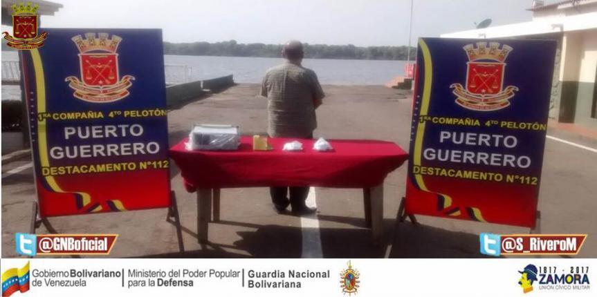GNB captura a ciudadano colombiano con un kilo 180 gramos de droga