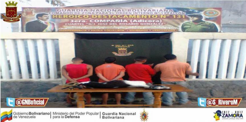 GNB Falcón detuvo a cuatro ciudadanos en Pueblo Nuevo por robo agravado