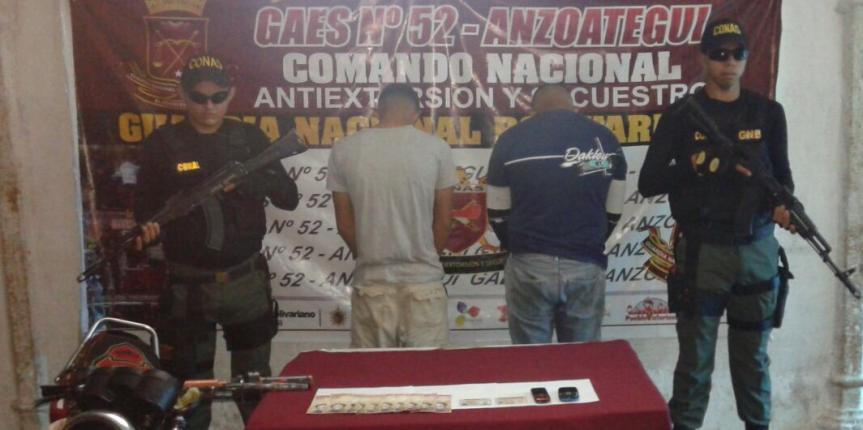 GAES Anzoátegui capturan a dos ciudadanos por extorsión en El Tigre