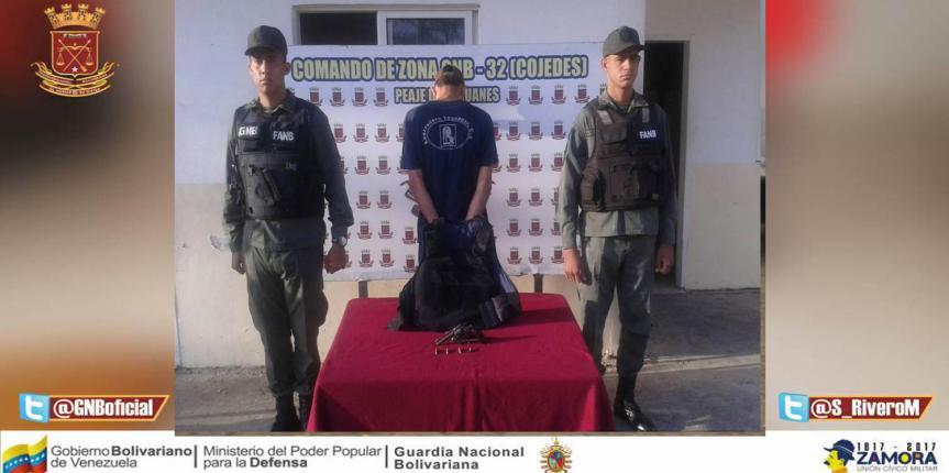 GNB detuvo a ciudadano por porte ilícito de arma de fuego en Tinaquillo