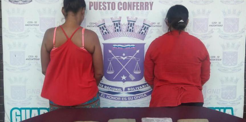 GNB Anzoátegui captura a dos ciudadanas con 5 panelas de marihuana adheridas al cuerpo