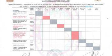 CRONOGRAMA DE PRUEBAS FISICAS PARA EL PERSONAL DE OFICIALES QUE OPTA AL GRADO INMEDIATO SUPERIOR – PROCESO DE EVALUACIÓN JULIO 2019